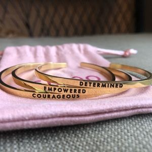 Courageous, determined, empowered bracelet set